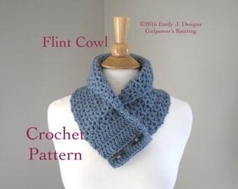 Button Cowl Scarf Easy Crochet Pattern, Neck Warmer Pattern, Shawl Collar Scarf, Lacy Mesh, Worsted Aran Yarn, Quick Crochet