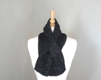 Sparkly Knit Scarf, Pull Through Scarf, Keyhole Scarf, Black Glitter Neck Scarf, Holiday Accessory, Gift for Her, Women & Teen Girls