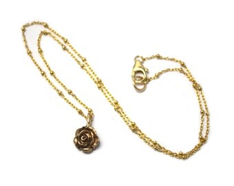 Single Rose Charm Pendant in Ancient Bronze with Gold Filled Ball Chain 16 Inches / Je T'Aimee Jewelry / Lost Wax Casting