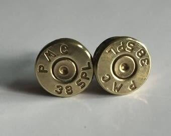 30% OFF SALE Bullet Earrings . 38 Special Brass Earrings - Spent Casings