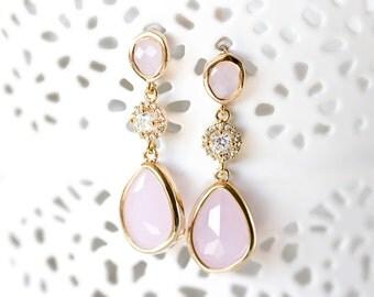 656_Pink teardrop earrings, Crystal dangle earrings, Blush gold earrings, Cubic zirconia earrings, Pink crystal earrings, CZ drop earrings.