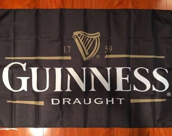Guinness Draught Beer Flag Banner 3 Feet by 5 Foot Bar Decor Man Cave
