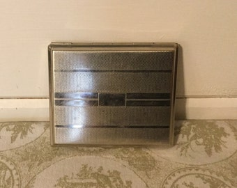 Vintage Silvertone Metal Cigarette Case,Art Deco