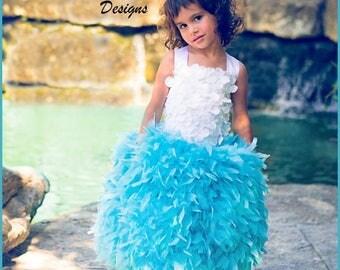 Feather Dress- Aqua Blue Tutu Dress - Aqua Tutu  - Hydrangea Tutu Dress - Aqua Feather Dress