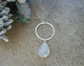 Open Circle with Moonstone, Sterling Silver Eternity Necklace, Teardrop Necklace, Healing, Moonstone Necklace, Textured Ring