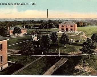 Vintage Postcard...Oklahoma, Shawnee, U.S. Indian School...Unused...no. OK0010
