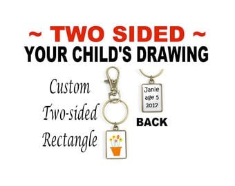 Your Child's Artwork on a TWO-SIDED Custom Key Ring, Your Child's Drawing, Kids' Artwork in a Two-Sided Purse Clip or Key Ring