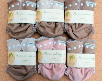 Sale! 6pc merino wool diapers covers only 111USD for cloth diaper / cloth nappy wraps / diaper cover / diaper set / size XL /