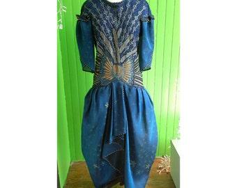 Rare Vintage Zandra Rhodes 1985 Embellished Peacock Dress
