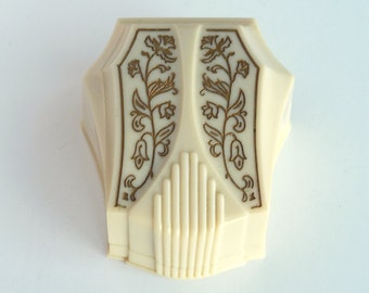 Art Deco Ring Box Cream Gold Flower Accents Vintage  Celluloid Plastic Ring Box Holder