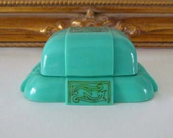 Art Deco Turquoise Celluloid Ring Box Display Ring Holder