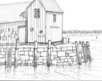 Motif #1, Black and White Pen Classic Rockport Mass New England Fishing village scenic landscape print 8.5x11 wall decor Home & Living