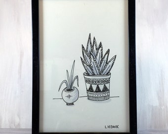 Framed House Plants. Original Drawing