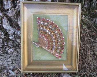 Vintage 1960s Handmade Fan Picture Boho Decor OOAK