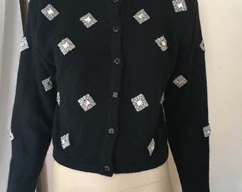 Liz Claiborne black embellished jeweled lambswool blend cardigan sweater Sz. S