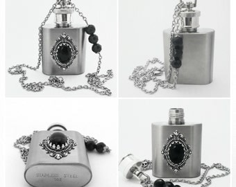 Stainless Steel Mini Flask Pendant Necklace Black Onyx Pendant Liquor Gothic Necklace Gothic Jewelry Steampunk Flask Gift For Him
