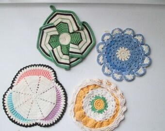 Four Hand Crocheted Pot Holders