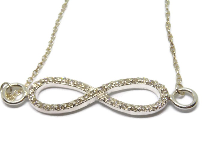 Sterling infinity necklace, sterling silver 925 chain, sterling infinity link charm, pave cubic zirconia, great for bride!