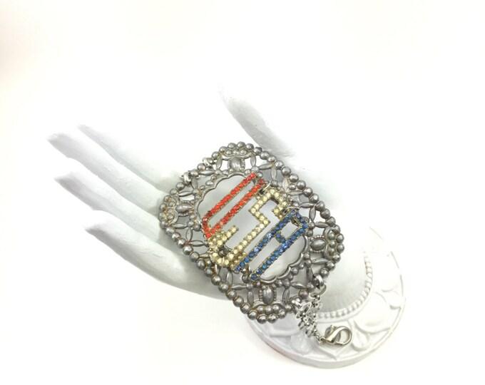 Vintage Buckle Bracelet Handmade with Rhinestone USA Brooch Adjustable Link