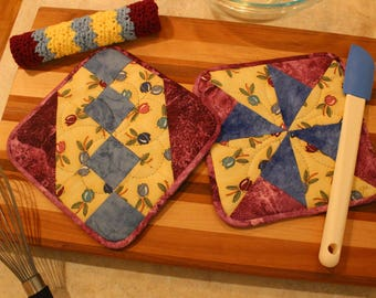 Hand Quilted Pot Holder-Crocheted Washcloth Set of 3 - Blue Maroon Tulips - Mother's Day Holiday Gift Basket Gift