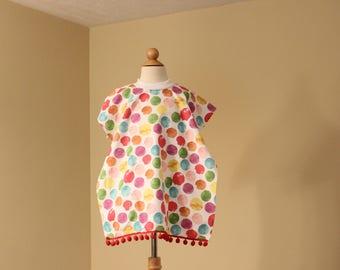 Toddler Towel Bib - Michigan Applique - Multi-color Polka dot