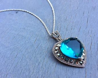 Vintage Heart Necklace Sterling Silver Aqua Blue Glass Marcasite Fine Jewelry Gift for Her