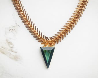 Labradorite Faceted Triangle Necklace