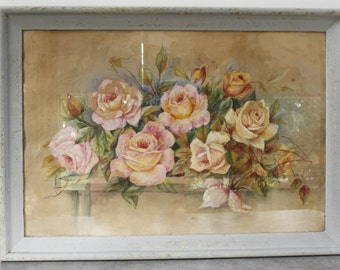 French Watercolour Painting.....Still Life...ROSES...Framed and signed