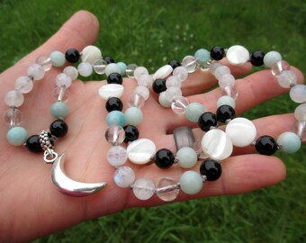 Moon Magic Pagan Prayer Beads with Silver Crescent Moon, Moonstone, Amazonite, Clear Quartz, & Black Onyx / 72 Mala / Devotional Necklace