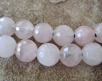 Large Hole Beads Rose Quartz 10-10.5 mm Pink Faceted Round Fit Leather 10 Beads