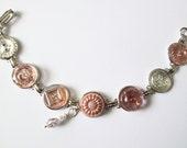 PINK vintage button bracelet, Czech glass buttons, iridescent buttons, silver links