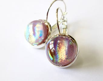 Pinky gray handmade dichroic glass earrings,  silver leverbacks