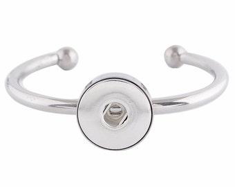 """1 Stainless Bangle Bracelet - 7"""" FITS 18MM Candy Snap Charm KC0664 CJ0687"""