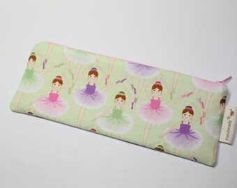 Pencil case, crochet hooks case, crochet hooks pouch, zipped pouch, with ballerinas, gift for girl