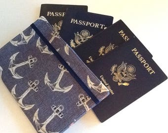 CUSTOM FOR EMILY Family Passport Holder, Nautical Anchors, Holds 4 Passports, Accessory, International Travel, Unique Gift for Traveler