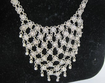 Cannetille Silver Necklace - Filigree Bib Style - Boho Chic - Tribal Ethnic -