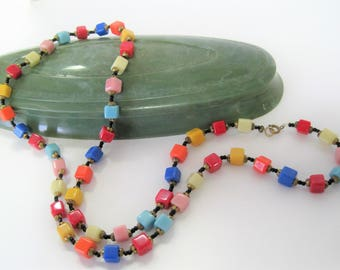 Bright Rainbow Necklace - Glass Square Beads - Long 30 Inch Flapper - 40's Glass Necklace