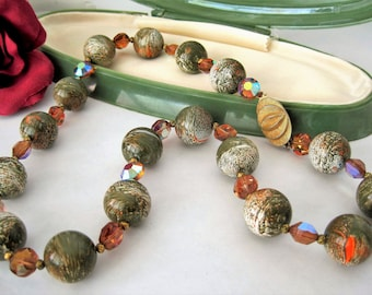 Green Swirl Bead Necklace- Topaz AB Crystals - Gold Tone Clasp