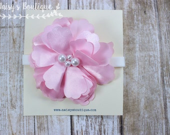 75% OFF Ready to Ship/ Newborn Light Pink Flower Headband/ Baby Headband/ Flower Girl Headband
