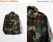 ON SALE til 11/28 Vintage Camo Parka Jacket - Camouflage Coat - US Army Jacket - Army Field Jacket - Military Coat - Size Small Short