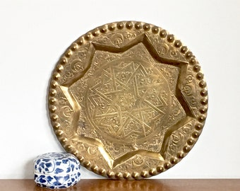Vintage Brass Tray Persian Turkish Hand Chased Round Tray Wall Hanging Boho Cosmopolitan Decor
