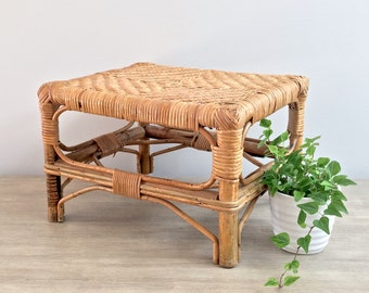 Vintage Rattan Bamboo Bentwood Stool Plant Stand Boho Jungalow Decor