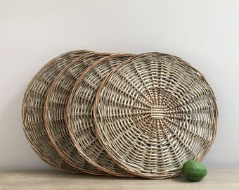 Vintage Willow Chargers Willow Twig Rattan Charger Set of Four 4 Casual Rustic Chic Tableware