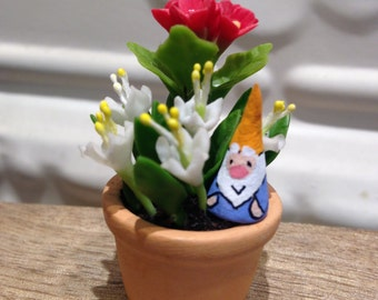 White and Red Clay Flowers Terra Cotta Clay Pot Cute Garden Gnome Miniature Terrarium - Gift for a Gnome lover Valentine's Day Gift Idea