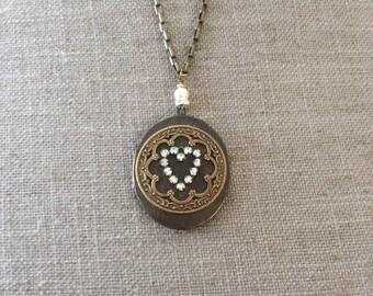 Antiqued brass locket
