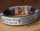 EXPRESS SHIPPING- Mens Leather Bracelet-Mens Bracelet- Personalized Jewelry-Custom Jewelry- Gift for Him-Boyfriend Gift, Personalized Gift