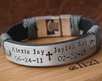 Cross Gift for him Man Leather Bracelet Anniversary gift Cross Man Leather Bracelet Leather Anniversary Gift for him