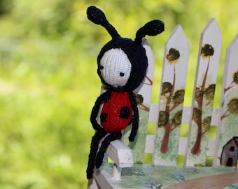 Miniature knit lucky ladybug girl doll - Toy or Car Mirror Decor
