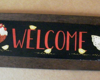 Chicken Rooster Welcome Retro Vintage Primitive Antique Replica Country Kitchen Sign