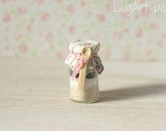 Cupcake mix with spoon for dollhouse scale
